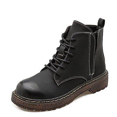 RTRY Scarpe Donna Pu Inverno Comfort Moda Stivali Stivali Chunky Tallone Punta Tonda Lace-Up Per Casual Nero Black Us5.5 / Eu36 / Uk3.5 / Cn35 US6 / EU36 / UK4 / CN36