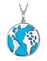 b4852f3094d6 SIMPLOVE Collar de Plata de Ley 925 con diseño de Mapa del Mundo