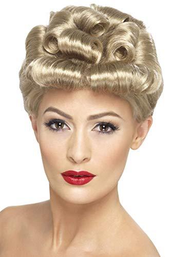 Smiffys Damen 40er Jahre Hochsteck Frisur mit Locken Perücke, Vintage Perücke, Blond, One Size, 29608