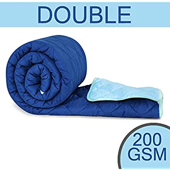 Divine Casa Sofitel Solid Polyester Double Comforter - Blue Topaz and Imperial Blue