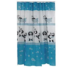rideau de douche tendance polyester 180x200 cm panda. Black Bedroom Furniture Sets. Home Design Ideas