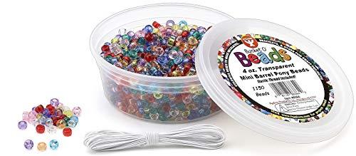 Hygloss Products 6864 Mini Barrel Pony Beads, 4 Oz, 1,150 Pcs, Transparent -
