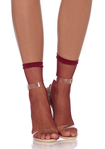 Leg Avenue 3039–Fishnet Anklets, talla única, borgoña