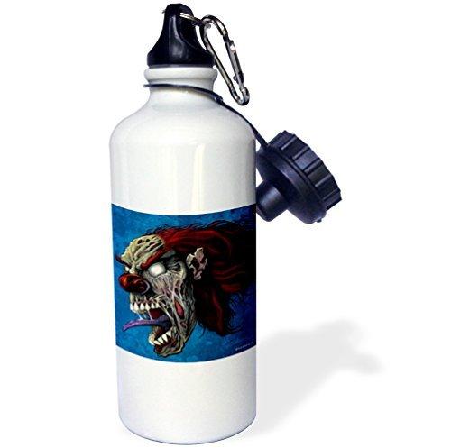 Sports Water Bottle Gift for Kids Girl Boy, Dark Evil Clown Zombie Illustration Comic Book Style Illustration Of An Evil Clown Stainless Steel Water Bottle for School Office Travel 21oz