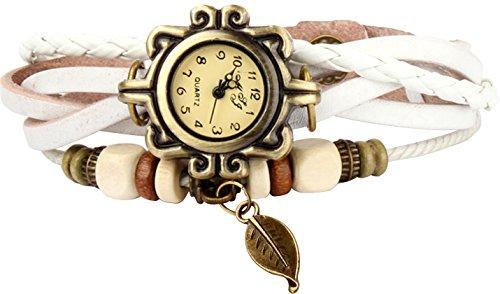 GPCT da donna Vintage, fatto a mano in foglia Orologio Bianco