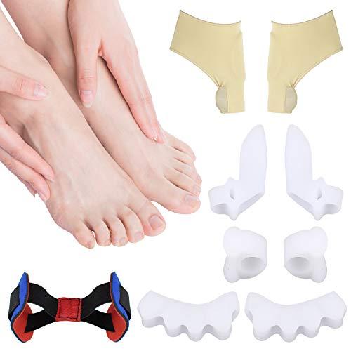 Alluce valgo correttore,brotou 9 pezzi separatore dita piede, protezione alluce valgo, aiuta a ridurre il dolore al piede e l'alluce valgo, morbidi, adatto a quasi tutte le calzature