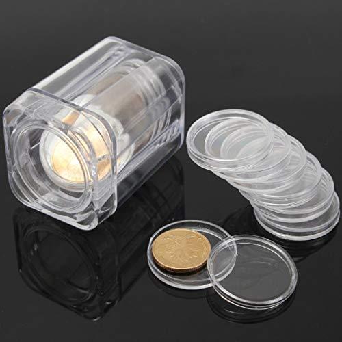 Yongse Plastic Clear Gedenkmünzensammelröhrchen mit 10 Stück Small Round Box