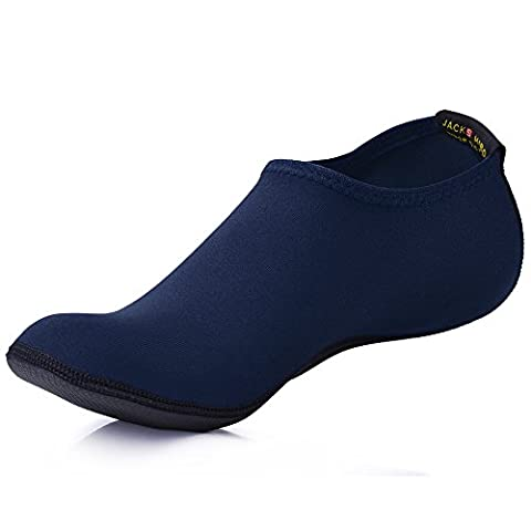 JACKSHIBO Herren Damen Barfuß Wasser Schuhe Unisex Aqua Shoes für Strand Schwimmen Surf Yoga Jungen Mädchen,Blau,Erwachsene XL