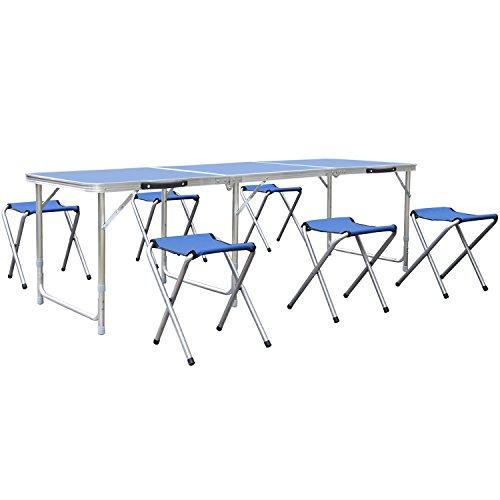 HOMFA 180cm Campingtisch Klapptisch Set mit 6 Klappstühle Aluminium Gartentisch höhenverstellbar Campingmöbel Camp Falttisch Reisetisch blau (Blau, 180cm)