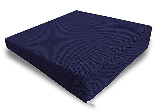 Cuscino per seduta e per la schiena in 100% memory foam da viaggio, per auto e seduta ufficio sfoderabile blu