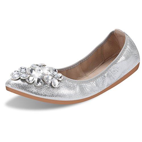 Qimaoo Damen Klassische Ballerina Geschlossene Glitzer Ballerinas Mokassin Slip-on Sommer Flache Schuhe mit Strass, Schwarz Silber und Gold,Silber,38.5 EU