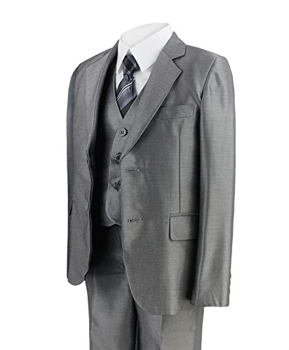 RAGAZZI 5 pezzo Abito lucido PARTY giacca pantaloni camicia gilet cravatta Grey