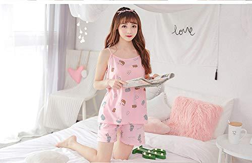 FERZA Home Sommer Baumwolle Damen Pyjama Hosenträger Shorts Casual koreanischen floral Home Service Anzug Pyjamas (Color : Pink, Size : L) -