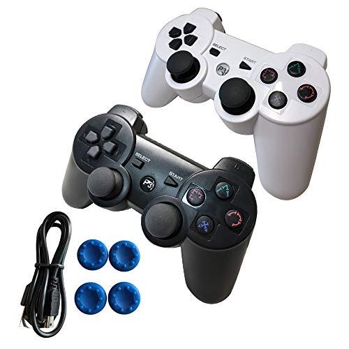 Kabelloser PS3 Controller Dualshock 3 mit Playstation 3 Controller, eingebaute doppelte Vibrationsmotoren mit sensibler Bewegungssteuerung Schwarz 2pack Black and White