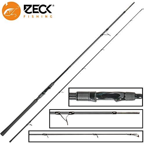 Zeck All Black 2,40m 80g Spinnrute, Angelrute zum Spinnfischen auf Hechte & Zander, Hechtrute zum Spinnangeln, Raubfischrute