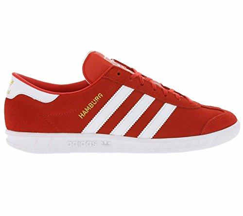 adidas Hamburg, Scarpe da Ginnastica Basse Uomo Rosso (Red/footwear White/gold Metallic)