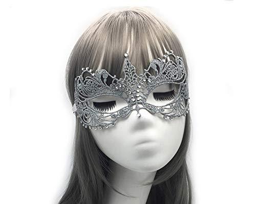 Kostüm Mardi Gra Größe Plus - HYXGG Party Lace Maske Halloween Mit Halbgesichtsform Plus Diamant Sexy Silber Maskerade Maske - Silber