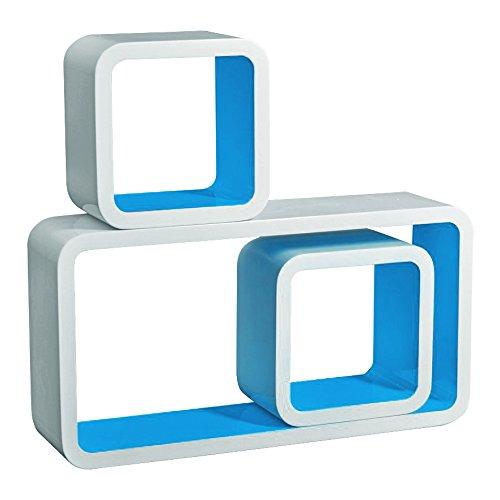 3er Set Wandregal Bücherregal, Cube Regal CD-regal, MDF Holz, Farben auswählbar, Weiß-Blau RG9229bl