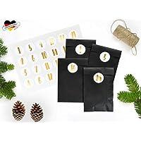 renna deluxe ADVENTSKALENDER DIY Set zum Befüllen, GOLD metallic, 24 Papiertüten in SCHWARZ, Zahlenaufkleber Handlettering, modern für Männer Hygge Vintage Scandi Stil
