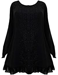 235c8b99a37 LONG MEDIEVAL EMBROIDERED TOP 14 16 18 20 22 24 26 28 30 32 BLACK PURPLE