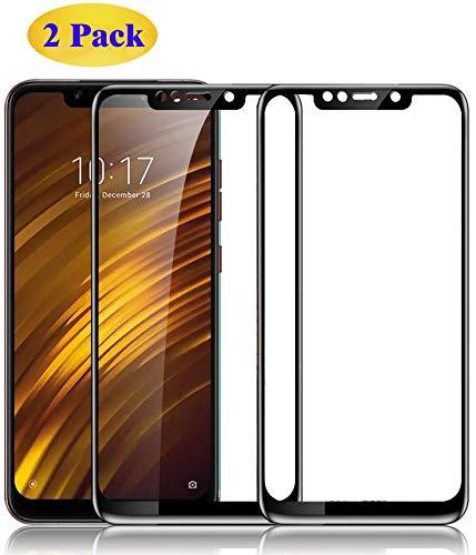 Eachy Xiaomi Pocophone F1 Panzerglas Schutzfolie,[2 Stück] Vollständige Abdeckung Ultra-klar Bildschirmschutzfolie für Xiaomi Pocophone F1 Panzerglasfolie 6,18 Zoll-Schwarz(0,33 mm)