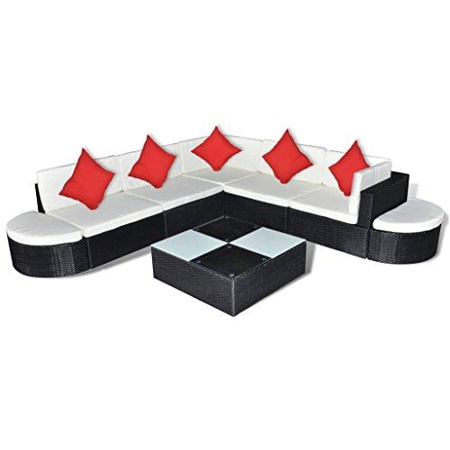 vidaXL Gartenmöbel 27-TLG. Poly Rattan Sitzgruppe Lounge Sitzgarnitur Gartenset