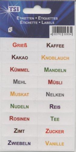 """Etiketten selbstklebend \""""Koch- und Backzutaten\"""" enthält 18 verschiedene Etiketten"""