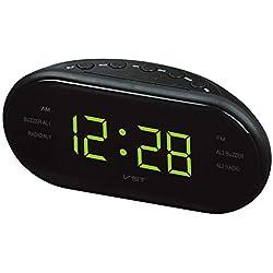 luminiu Radio-réveil, Radio reveil Lumineux, Radio-réveil, Rétro Radio Réveil, EU Plug, Radio Réveil Double Alarme, stéréo, Portable Radio-réveil, Affichage LED, AM/FM