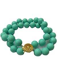 Schmuckwilly Muschelkernperlen Perlenarmband Perlen - Muschelkernperlen Armband 2-reihig See blau Hochwertige mb0045