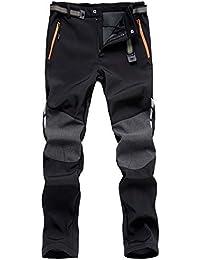 LHHMZ Hommes Doux Shell Polaire doublé randonnée Pantalons en Plein air  imperméable Respirant épaissir Hiver Chaud 65ca1a251e0