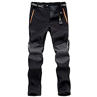 LHHMZ Men's Soft Shell Fleece Lined Hiking Trousers Outdoor Waterproof Breathable Thicken Winter Warm Walking Climbing Pants 17
