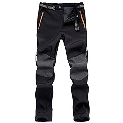 LHHMZ Men's Soft Shell Fleece Lined Hiking Trousers Outdoor Waterproof Breathable Thicken Winter Warm Walking Climbing Pants 1