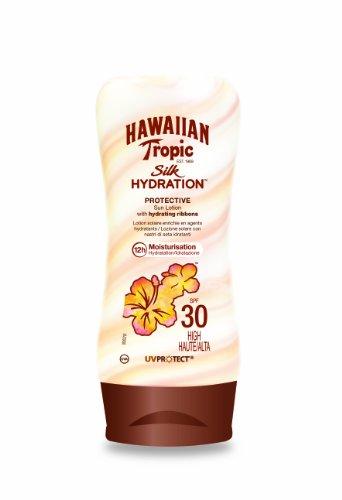 Hawaiian Tropic Silk Hydration Protective   Loción Solar Protectora con índice SPF 30 con cintas de seda hidratantes y resistente al agua  formato 180 ml