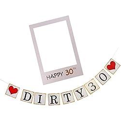 Sharplace Ghirlanda Cheers Per 30 Anni Dirty 30+Foto Booth Prop Selfie Cornice Ornamento Per Compleanno Anniversario - dirty 30
