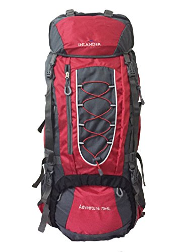 INLANDER 70L Red Travel Bag for Hiking Trekking Daypack Rucksack with Rain Cover