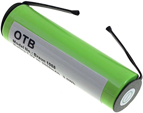 4745 Grün (Akku passend zu Braun 4745, NiMH, 2500mAh, 1,2V, 3Wh, Grün)