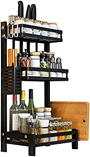 O9 O-Nine 3 Tier Metal Kitchen Spice Rack Countertop Standing Corner Shelf Removable Seasoning Organizer Jars