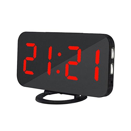 Alexsix Wecker-Digitaluhr mit Großer Einfacher gelesener LED-Anzeigen-Spiegel-Oberfläche Doppel-USB-Ladegerät-Hafen