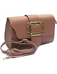 Stylish And Beautiful American Leather Pink Sling Bag | Hand Bag | CrossBody Bag In Micro Leather With Removable...