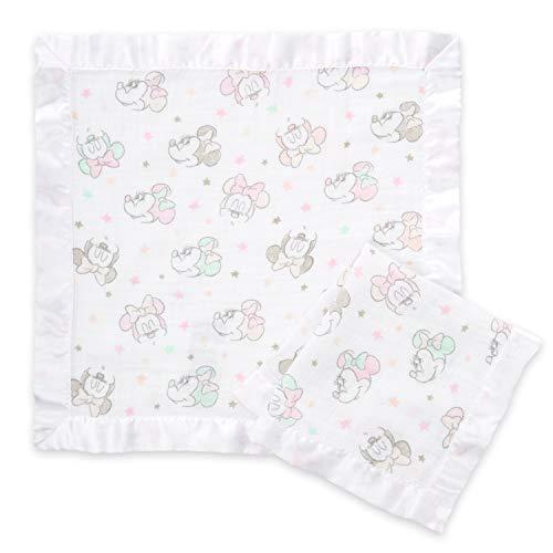 aden by aden + anais Disney Baby Minnie bubble, Schmusetücher, Musselin aus 100{157cb8839de4d96d0b38ec7342d6376fc1358472c6100842e62b21596c832485} Baumwolle, Rand aus Satin, 40cm X 40cm, 2er Pack