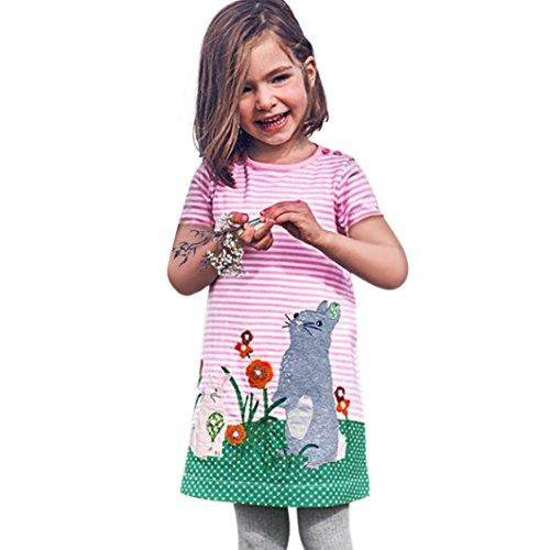 JERFER Kleinkind Infant Baby Kinder Mädchen Cartoon Kleider Gestreifte Tiere Outfits ()