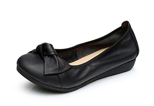 Frauen flache Schuhe Einfache Bowknot Elastische Mund Leder Ballett Schuhe Hochzeit Flats Casual Flat Heel Court Schuhe Black