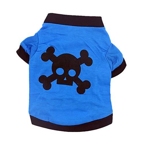 Haustier Muster Katze Kostüm - Smniao Hundekleidung für Kleine Hunde Französische Bulldogge Halloween Cosplay Skull Muster Kostüm Haustier Katze Bekleidung (XS, Blau)