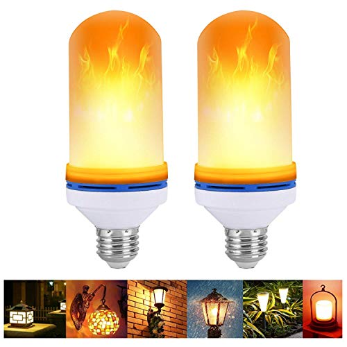 VIPMOON 2Pack E27 Efecto llama LED Bombilla luz fuego
