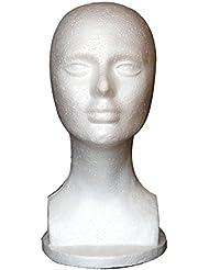 Tête de mannequin femme en mousse, présentoir à chapeau, perruque, bijoux  de cheveux 8a8ecc6b2ac0