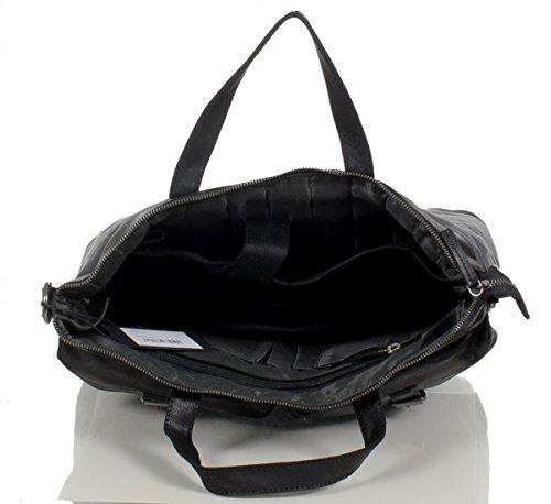 Bugatti Urbano sac cabas serviette mallette en toile et cuir lisse (41x41x13 cm) Anthracite