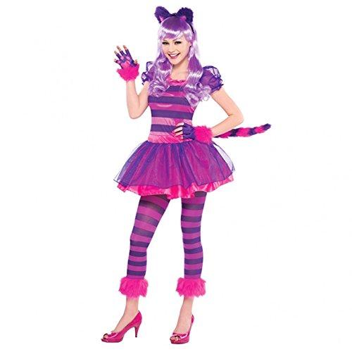 Lila Grinsekatzen-Kostüm-Set, Alice im Wunderland, für Jugendliche, bestehend aus Schwanz, Kopfteil, Pfoten und Strumpfhose Gr. 12-14 Jahre, rose