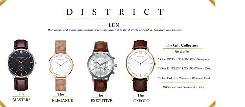 District London Executive Edition 40IMM Men's Quartz Luxury Sub Dial Watch Analogue Display and Brown Leather Strap – Classic Design – Dress Watch – Waterproof Wristwatch with Stainless Steel Case.
