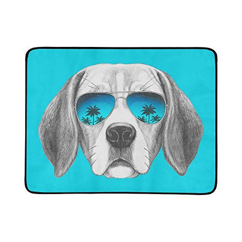 SHAOKAO Porträt Beagle Hund Spiegel Sonnenbrille Hand Tragbare Und Faltbare Deckenmatte 60x78 Zoll Handliche Matte Für Camping Picknick Strand Indoor Outdoor Reise