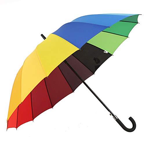 MDBLYJCreatividad casera Paraguas con Mango Largo y arcoíris, Paraguas automático con Mango Curvado Recto,